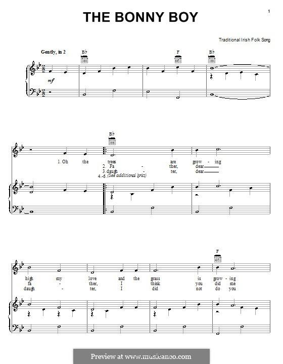 The Bonny Boy: Für Stimme und Klavier (oder Gitarre) by folklore