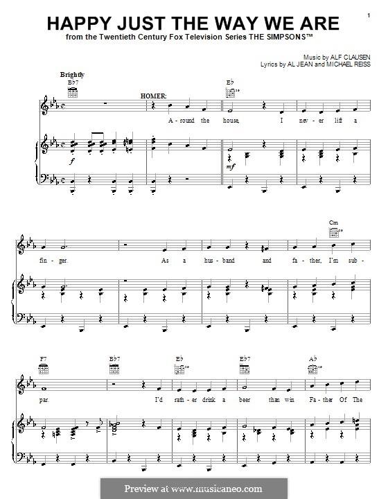 Happy Just the Way We Are (The Simpsons): Für Stimme und Klavier (oder Gitarre) by Al Jean, Alf Clausen, Michael Reiss