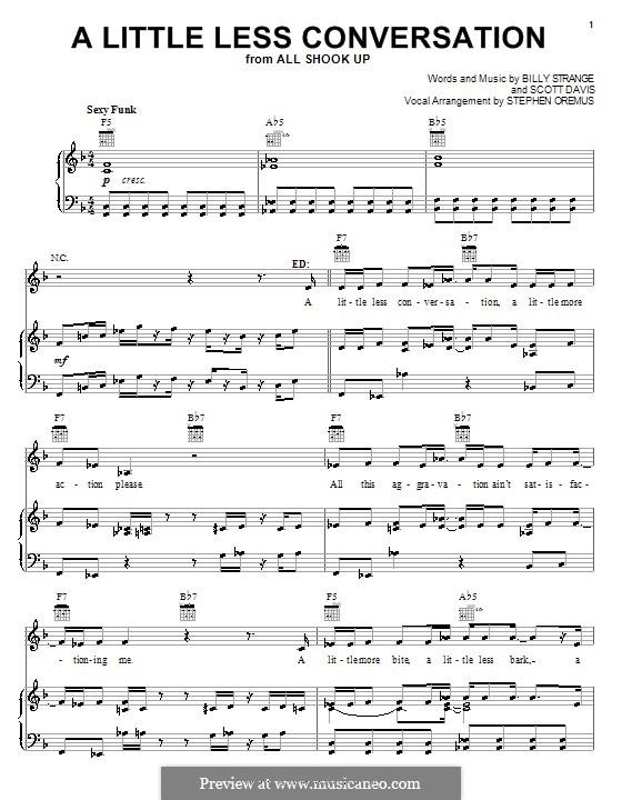 A Little Less Conversation (Elvis Presley): Für Stimme und Klavier (oder Gitarre) by Billy Strange, Mac Davis