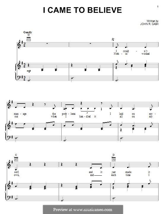 I Came to Believe: Für Stimme und Klavier (oder Gitarre) by Johnny Cash