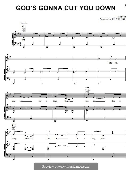 God's Gonna Cut You Down: Für Stimme und Klavier (oder Gitarre) by folklore