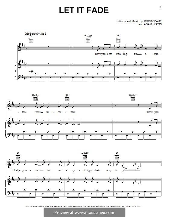 Let It Fade: Für Stimme und Klavier (oder Gitarre) by Adam Watts