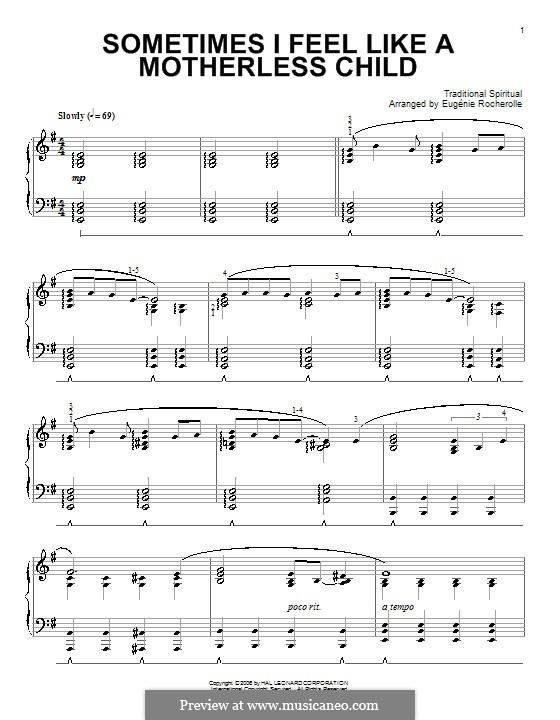 Sometimes I Feel Like a Motherless Child: Für Klavier by folklore