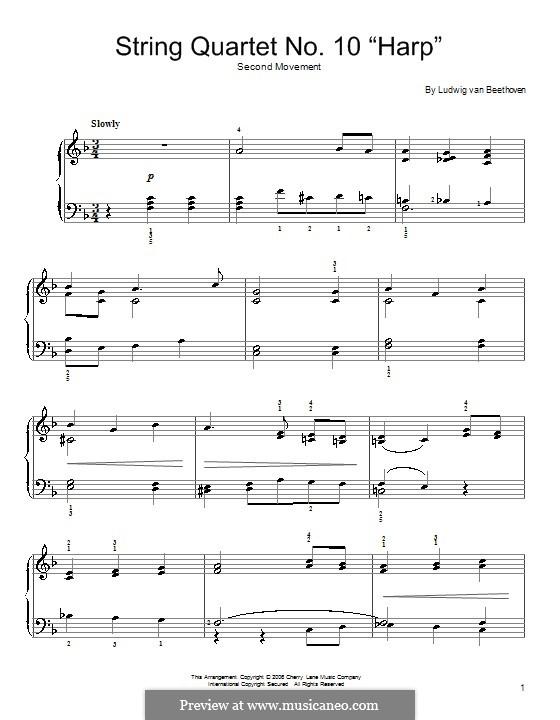 Streichquartett Nr.10 in Es-Dur 'Harfenquartett', Op.74: Teil II (Theme). Version for easy piano by Ludwig van Beethoven