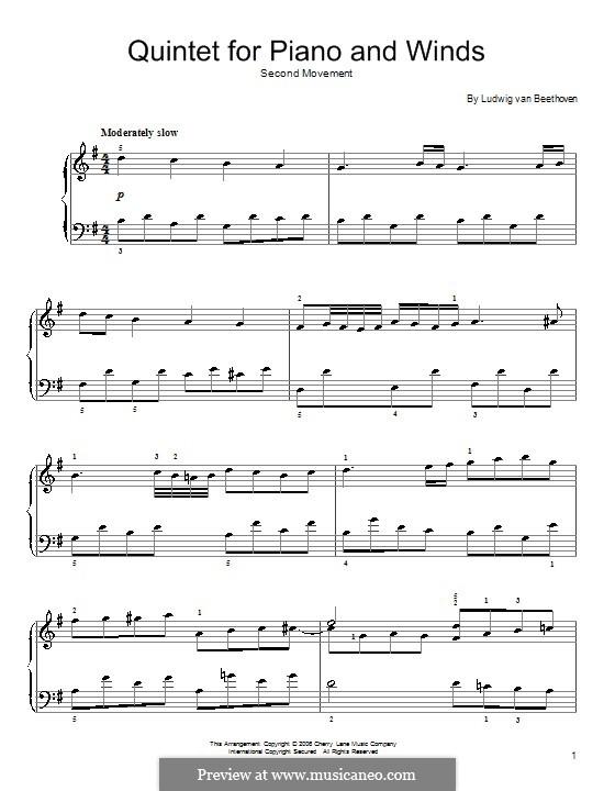 Quintett für Klavier und Blasinstrumente in Es-Dur, Op.16: Teil II (Thema). Version für Klavier by Ludwig van Beethoven