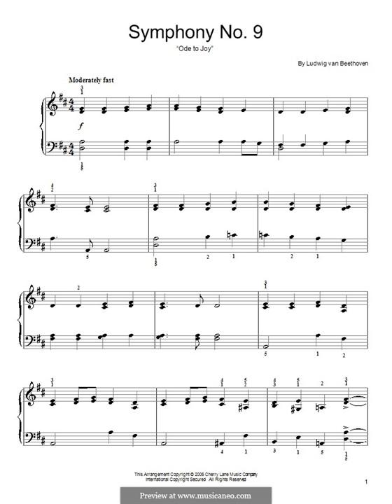 Ode an die Freude, für Klavier: Klavierversion für Anfänger by Ludwig van Beethoven