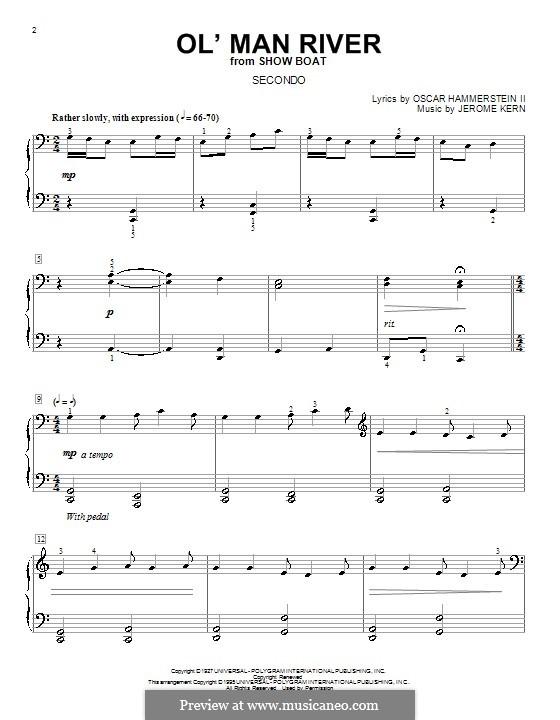 Ol' Man River (from Show Boat): Für Klavier, vierhändig by Jerome Kern