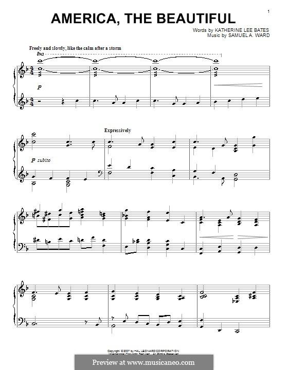 America the Beautiful: Für Klavier by Samuel Augustus Ward