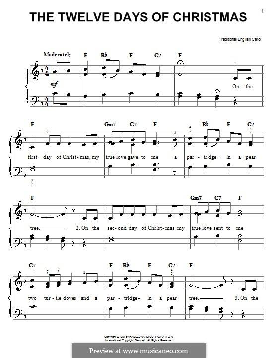 The Twelve Days of Christmas: Für Klavier, leicht (F-Dur) by folklore