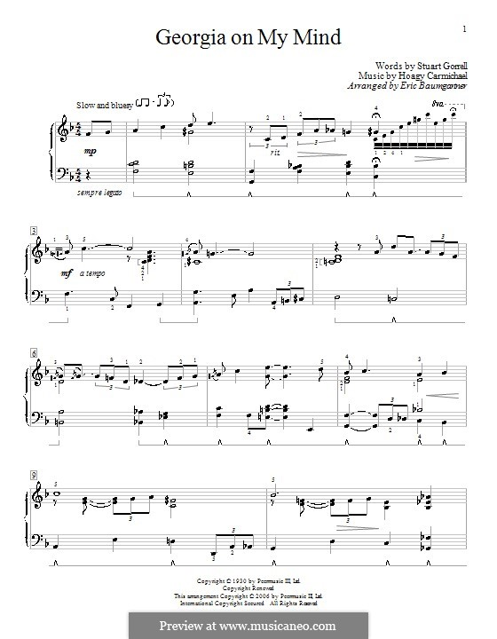 Georgia on My Mind, for Piano: Für einen Interpreten by Hoagy Carmichael