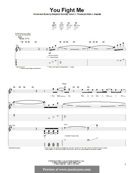 You Fight Me (Breaking Benjamin): Für Gitarre mit Tabulatur by Aaron C. Fincke, Benjamin Burnley, Mark J. Klepaski