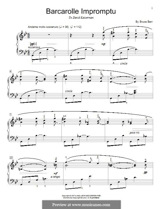 Barcarolle Impromptu: Für Klavier by Bruce Berr