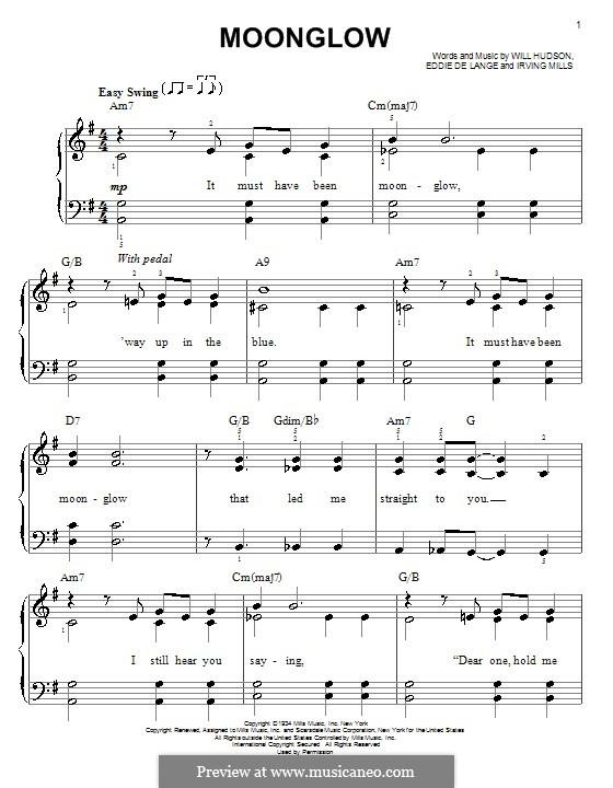Moonglow: Für Klavier, leicht by Irving Mills, Eddie De Lange, Will Hudson