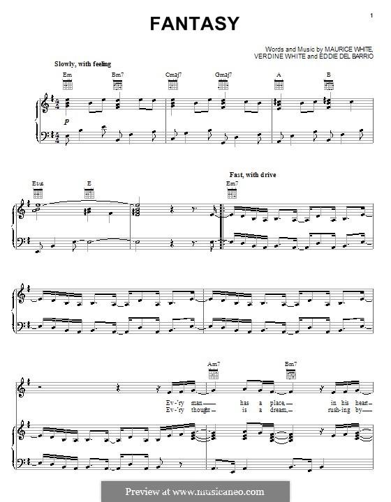 Fantasy: Für Stimme und Klavier (oder Gitarre) by Eddie del Barrio, Maurice White, Verdine White