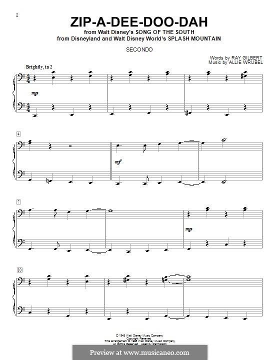 Zip-A-Dee-Doo-Dah: Für Klavier, vierhändig by Allie Wrubel