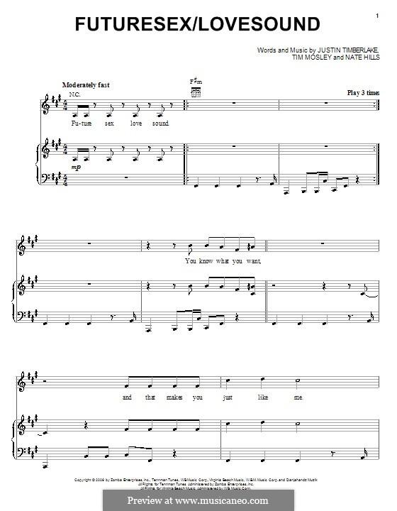 FutureSex/Lovesound (Justin Timberlake): Für Stimme und Klavier (oder Gitarre) by Floyd Nathaniel Hills, Timbaland