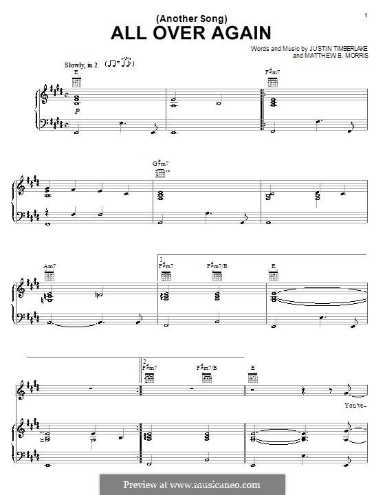 (Another Song) All Over Again (Justin Timberlake): Für Stimme und Klavier (oder Gitarre) by Matthew B. Morris