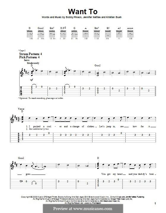 Want To (Sugarland): Für Gitarre (Sehr leichte Fassung) by Bobby Pinson, Jennifer Nettles, Kristian Bush