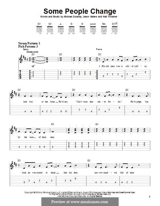 Some People Change: Für Gitarre (Sehr leichte Fassung) by Jason Sellers, Michael Dulaney, Neil Thrasher