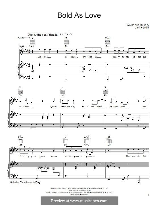 Bold as Love: Für Stimme und Klavier (oder Gitarre) by Jimi Hendrix