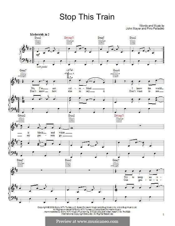 Stop This Train: Für Stimme und Klavier (oder Gitarre) by Pino Palladino