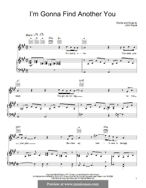 I'm Gonna Find Another You: Für Stimme und Klavier (oder Gitarre) by John Mayer
