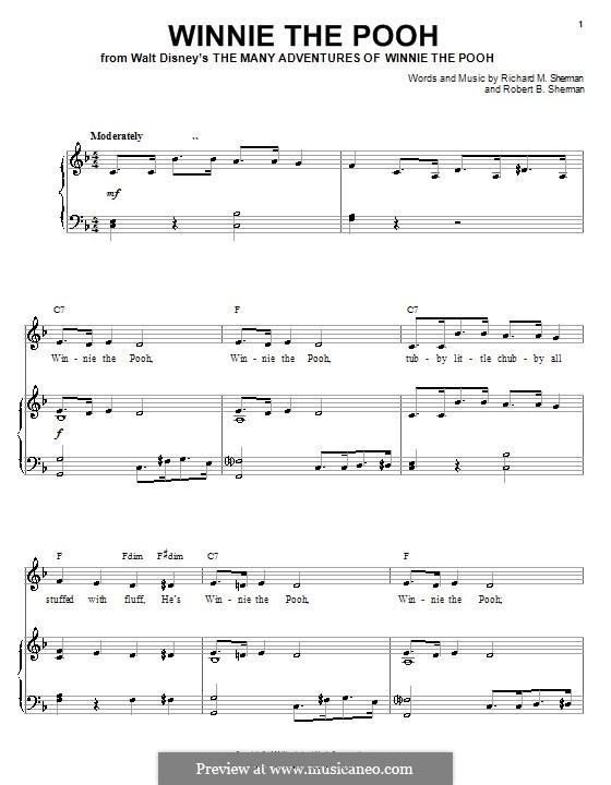 Winnie the Pooh: Für Stimme und Klavier (oder Gitarre) by Richard M. Sherman, Robert B. Sherman