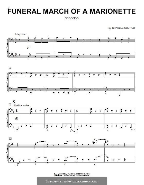 Trauermarsch einer Marionette: Für Klavier, vierhändig by Charles Gounod