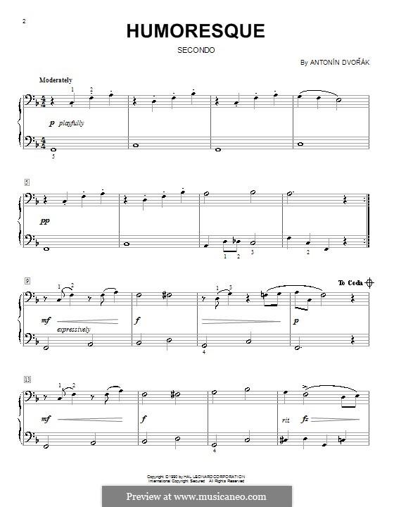 Humoresken, B.187 Op.101: Nr.7, für Klavier, vierhändig by Antonín Dvořák