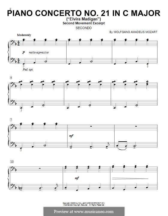 Konzert für Klavier und Orchester Nr.21 in C-Dur, K.467: Teil II (Fragment). Version für Klavier, vierhändig by Wolfgang Amadeus Mozart
