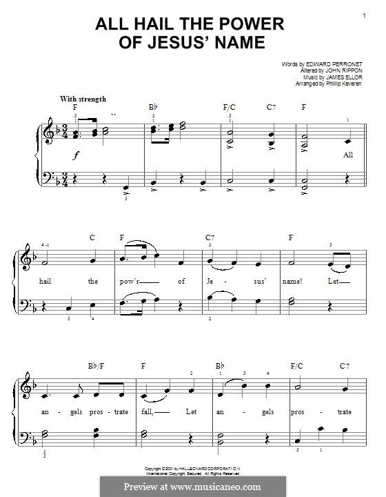 All Hail the Power of Jesus' Name: Für Klavier, leicht by James Ellor