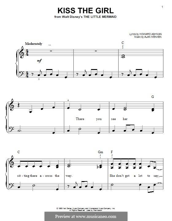Kiss the Girl (from The Little Mermaid): Einfache Noten für Klavier by Alan Menken