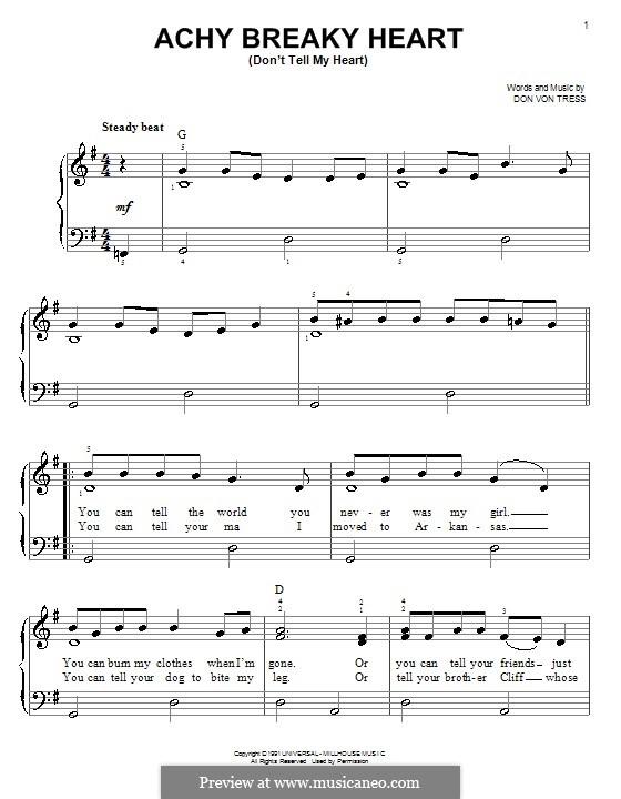 Achy Breaky Heart (Don't Tell My Heart): Für Klavier, leicht by Donald Von Tress