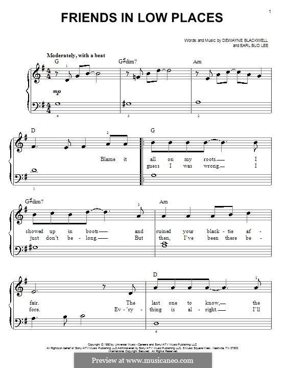 Friends in Low Places (Garth Brooks): Für Klavier, leicht by Dewayne Blackwell, Earl Bud Lee