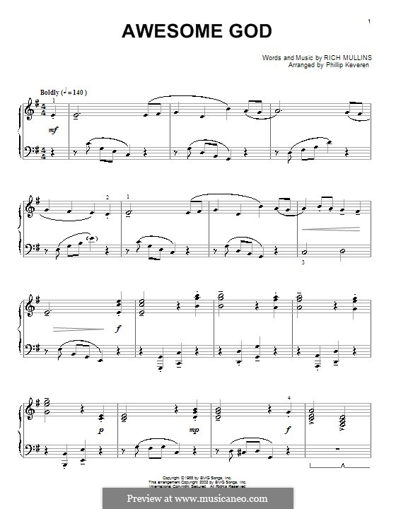 Awesome God: Für Klavier (E Minor) by Rich Mullins