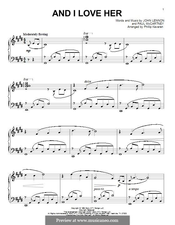 And I Love Her (The Beatles): Für Klavier by John Lennon, Paul McCartney