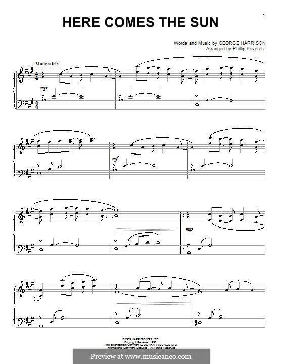 Here Comes the Sun (The Beatles): Für Klavier (Noten von hohem Qualität) by George Harrison