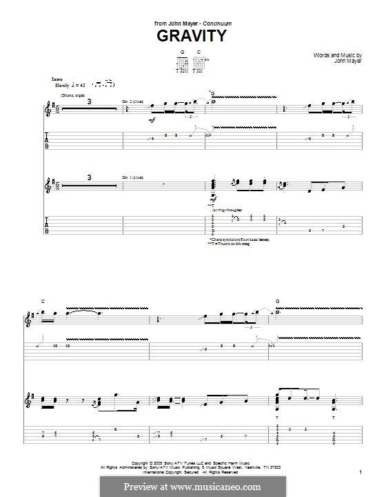 Gravity: Für Gitarre mit Tabulatur by John Mayer