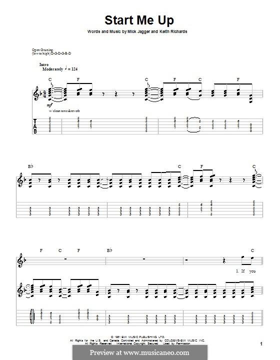 Start Me Up (The Rolling Stones): Für Gitarre mit Tabulatur by Keith Richards, Mick Jagger