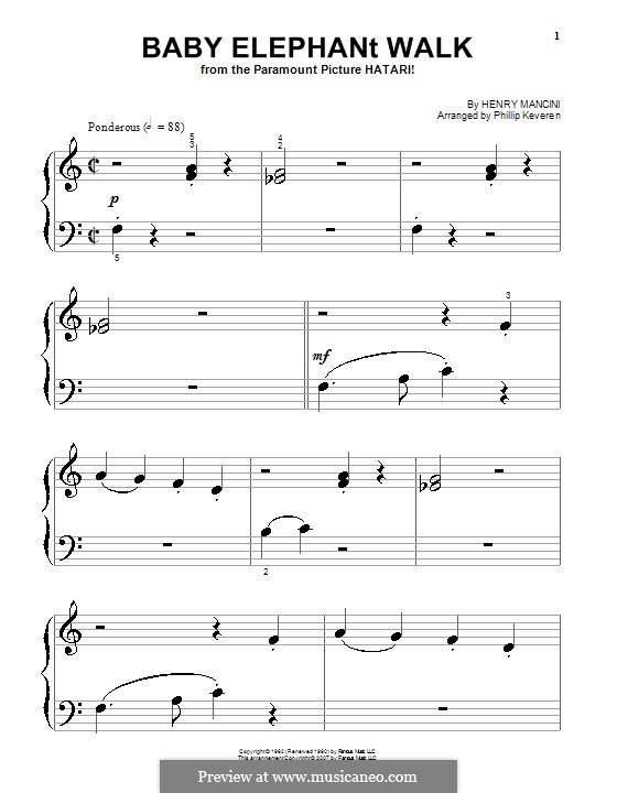 Baby Elephant Walk: Für Klavier (sehr leichte Fassung) by Henry Mancini