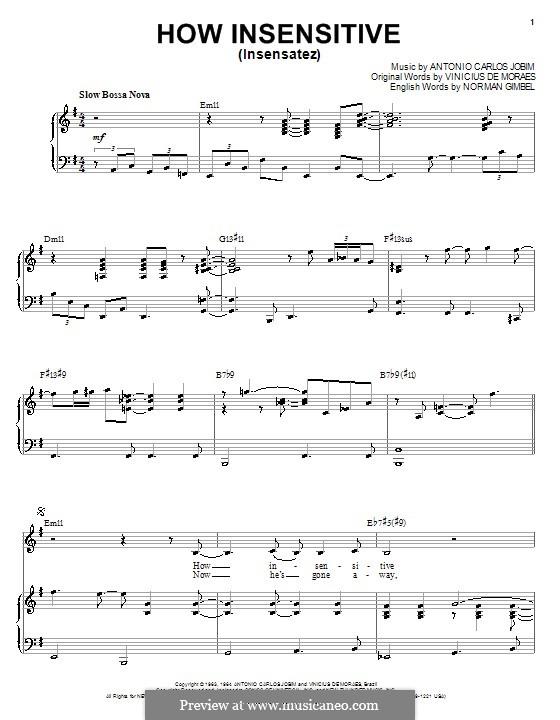 How Insensitive (Insensatez): Für Stimme und Klavier (oder Gitarre) by Antonio Carlos Jobim