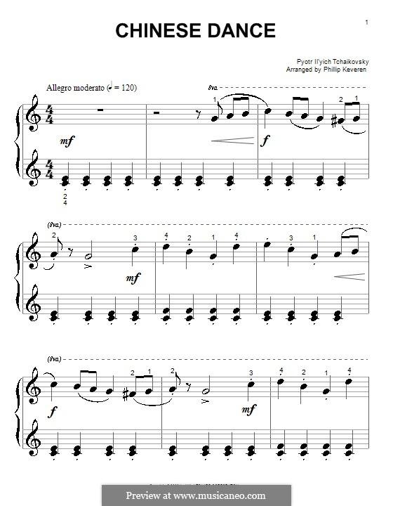 Nr.6 Chinesischer Tanz: Einfache Noten für Klavier by Pjotr Tschaikowski