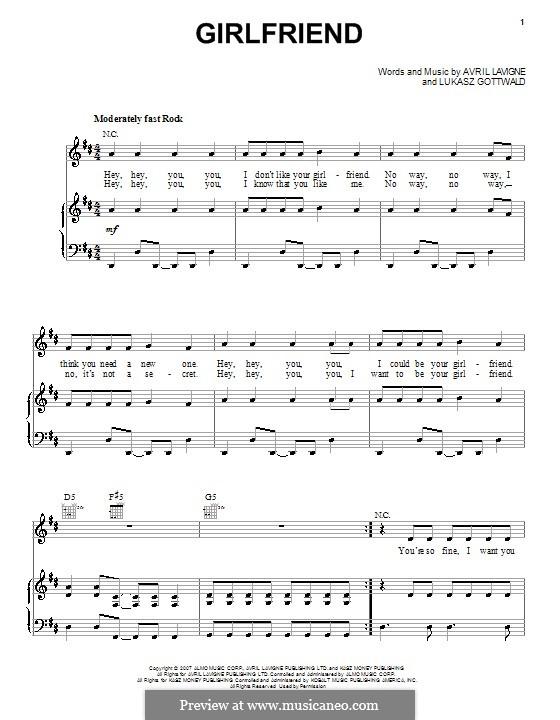 Girlfriend (Avril Lavigne): Für Stimme und Klavier (oder Gitarre) by Lukas Gottwald