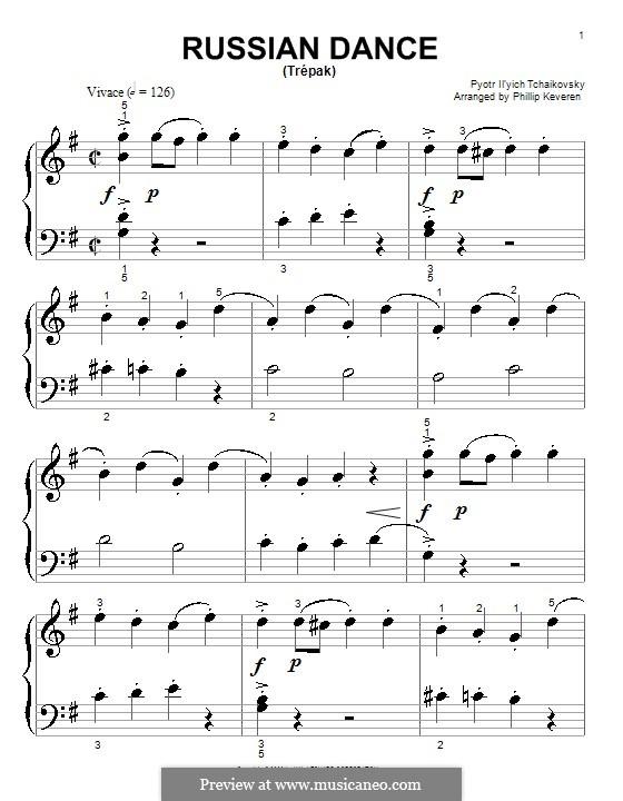 Nr.4 Russischer Tanz (Trepak): Einfache Noten für Klavier by Pjotr Tschaikowski