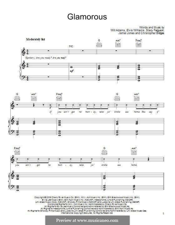 Glamorous (Fergie featuring Ludacris): Für Stimme und Klavier (oder Gitarre) by Christopher Bridges, Elvis Williams, Jamal Jones, Stacy Ferguson, will.i.am