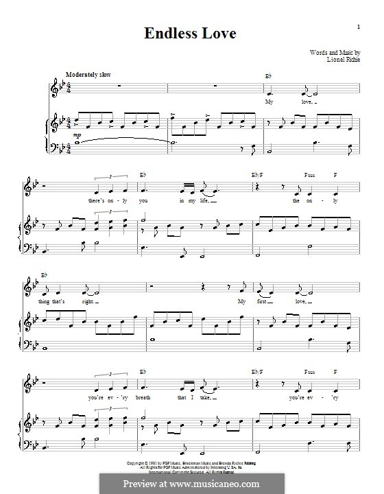 Endless Love: Für Stimme und Klavier (oder Gitarre) by Lionel Richie
