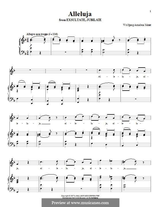 Exsultate, jubilate, K.165: Halleluja, für Stimme und Klavier by Wolfgang Amadeus Mozart