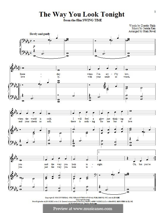 The Way You Look Tonight: Für Stimme und Klavier (oder Gitarre) by Jerome Kern