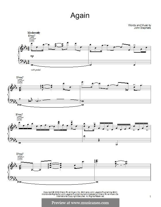 Again (John Legend): Für Stimme und Klavier (oder Gitarre) by John Stephens