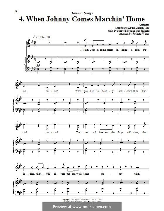 When Johnny Comes Marching Home: Für Stimme und Klavier (oder Gitarre) by Patrick Sarsfield Gilmore